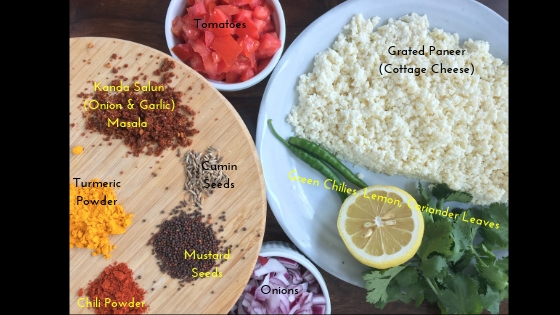 Paneer Burji Ingredients